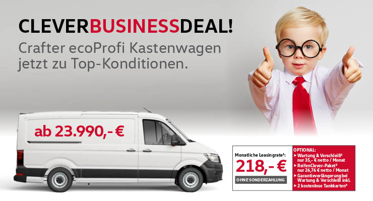 "Clever Business Deal – VW Crafter ""EcoProfi"" ab 218,- € mtl."