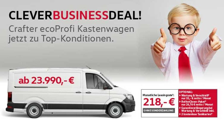 """Clever Business Deal – VW Crafter """"EcoProfi"""" ab 218,- € mtl."""